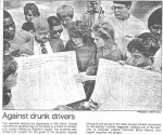 Newspaper article about MCHS S.A.D.D Signature Drive in 1988 sponsored by Mr. Barbre